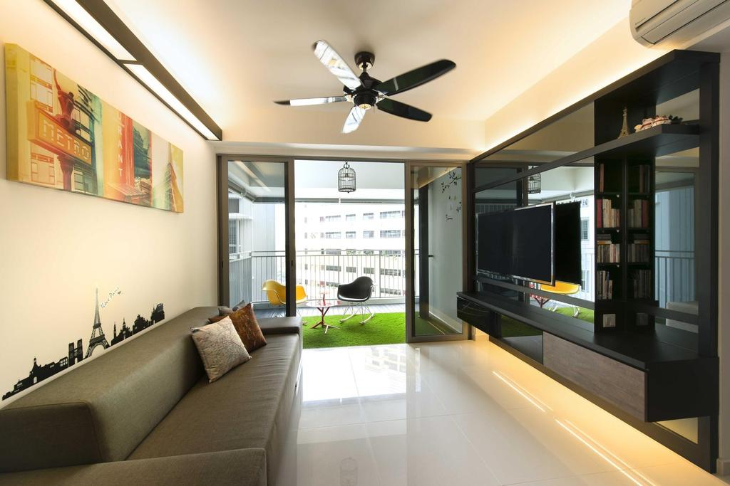 Contemporary, Condo, Living Room, The Peak, Interior Designer, Space Factor, Ceiling Fan, Balcony, Concealed Lighting, Sofa, Wall Art, Wall Sticker, Painting, Tv Console, Artificial Lawn, Glass Sliding Doors, Marble Flooring, Birdcage, Couch, Furniture, Indoors, Interior Design, Electronics, Entertainment Center
