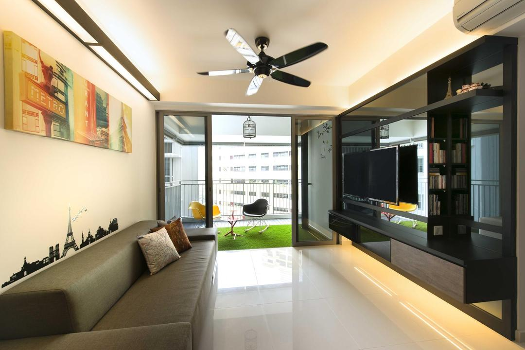The Peak, Space Factor, Contemporary, Living Room, Condo, Ceiling Fan, Balcony, Concealed Lighting, Sofa, Wall Art, Wall Sticker, Painting, Tv Console, Artificial Lawn, Glass Sliding Doors, Marble Flooring, Birdcage, Couch, Furniture, Indoors, Interior Design, Electronics, Entertainment Center