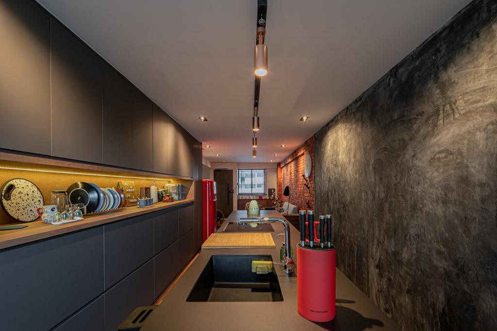 Industrial, HDB, Kitchen, Geylang Bahru, Interior Designer, Insight.Out Studio, Vintage
