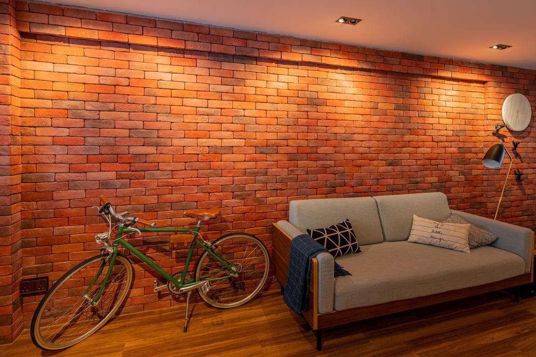 Geylang Bahru, Insight.Out Studio, Industrial, Vintage, Living Room, HDB, Brick Wall