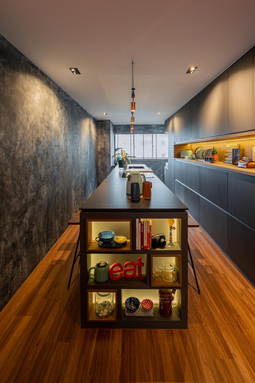 Industrial, HDB, Dining Room, Geylang Bahru, Interior Designer, Insight.Out Studio, Vintage, Kitchen Island