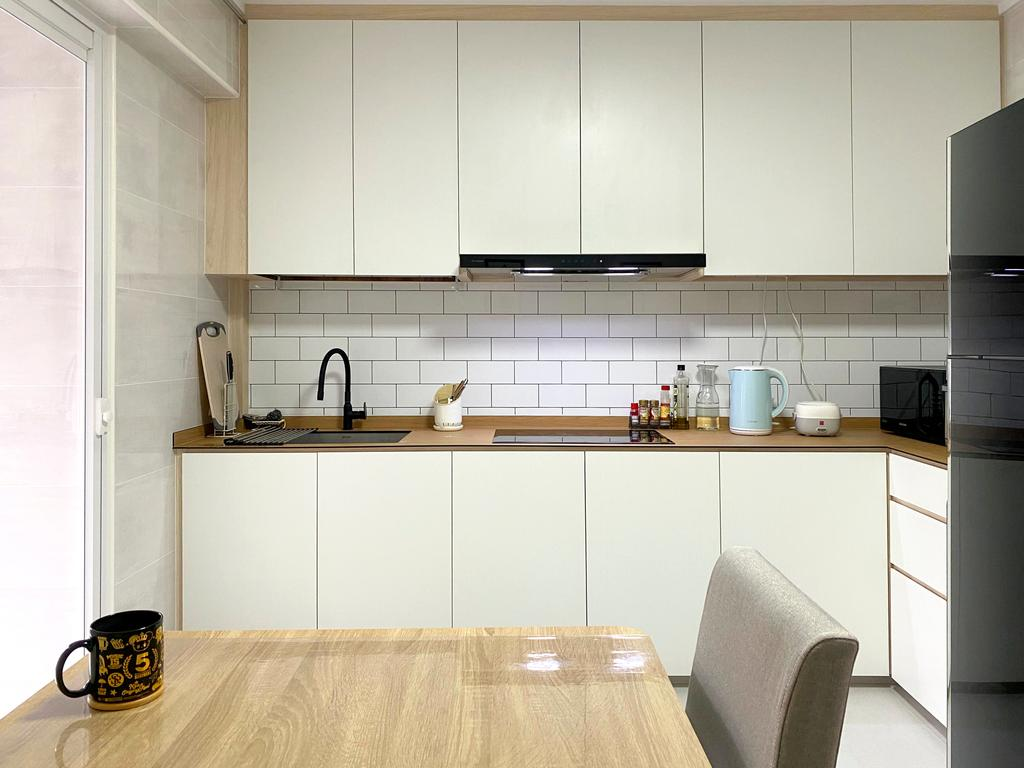 Scandinavian, HDB, Kitchen, Jurong West Street 91, Interior Designer, Sky Creation Asia, Minimalistic