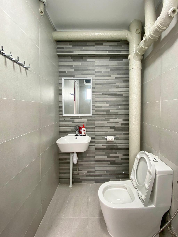 Scandinavian, HDB, Bathroom, Jurong West Street 91, Interior Designer, Sky Creation Asia, Minimalistic