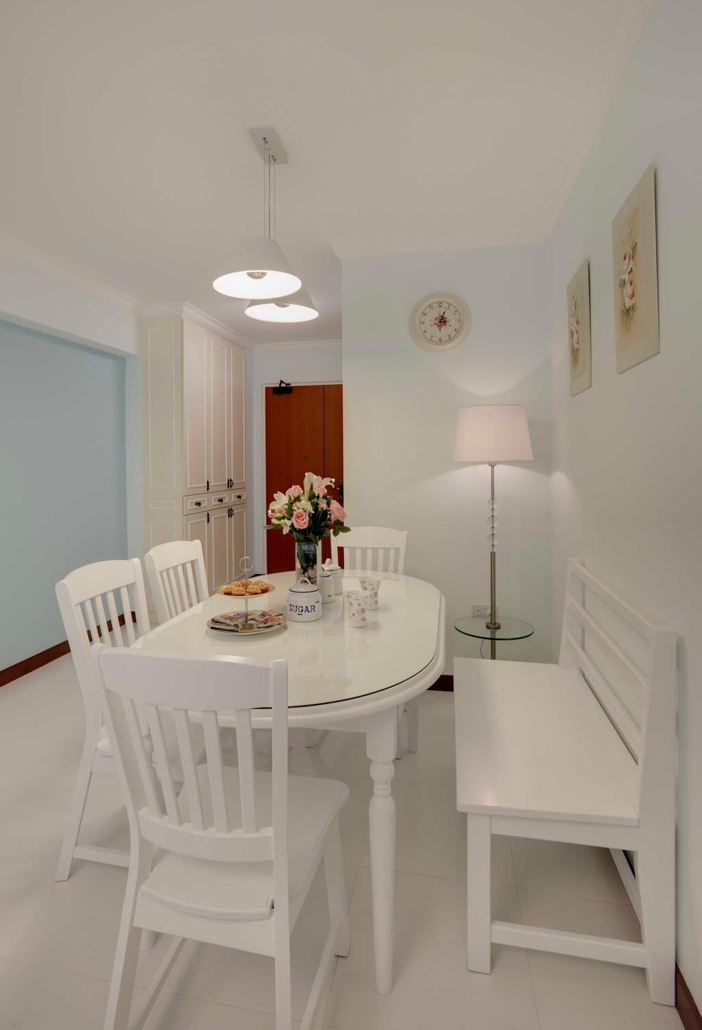 Traditional, HDB, Dining Room, Punggol Central, Interior Designer, Space Factor, Clock, Cabinet, Bench, Chair, Standing Lamp, Hanging Light, Blue, Pastel, Pastel Tones, Storage, Lighting, Indoors, Interior Design, Room, Furniture