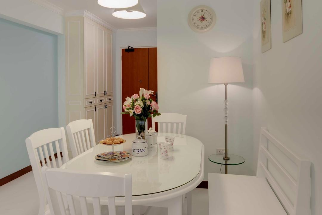 Punggol Central, Space Factor, Traditional, Dining Room, HDB, Clock, Cabinet, Bench, Chair, Standing Lamp, Hanging Light, Blue, Pastel, Pastel Tones, Storage, Lighting, Indoors, Interior Design, Room, Furniture