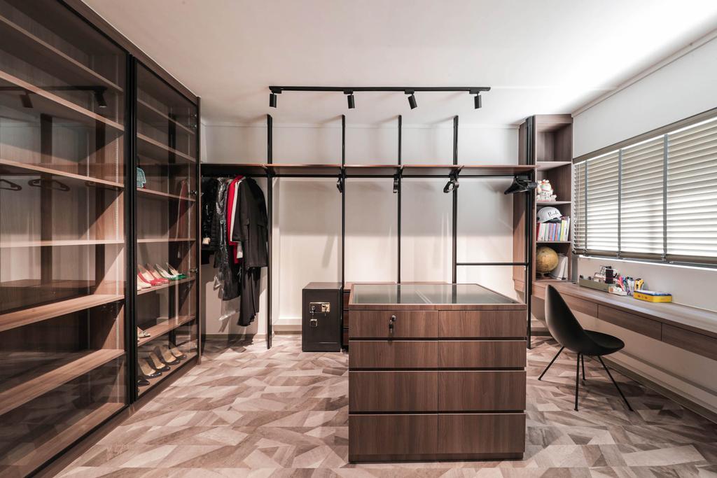 Modern, HDB, Bedroom, Tampines Street 41, Interior Designer, Posh Living Interior Design, Contemporary, Wardrobe, Walk In Wardrobe, Accessory Island, Dressing Room