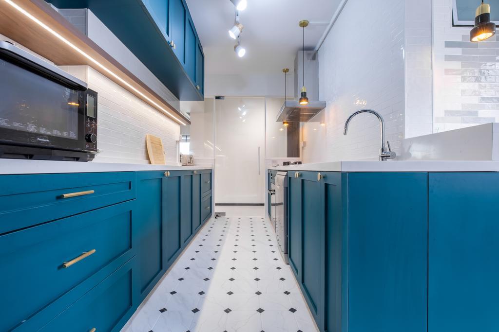 Scandinavian, HDB, Kitchen, Toh Guan Road, Interior Designer, Ataz Haus Interior Design, Blue