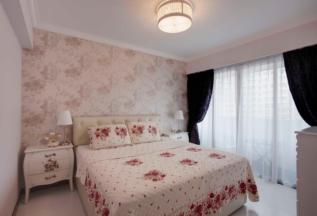 Traditional, HDB, Bedroom, Punggol Central, Interior Designer, Space Factor, Floral Wallpaper, Floral, Wallpaper, Pink, Night Stand, Side Table, Curtains, Lighting, Indoors, Interior Design, Room, Chair, Furniture