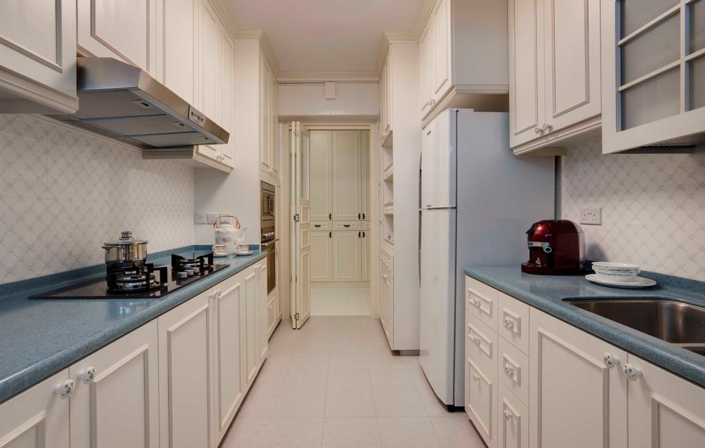 Traditional, HDB, Kitchen, Punggol Central, Interior Designer, Space Factor, Wall Panels, White, Blue, Tile, Tiles, Cottage, Linear, Kitchen Counter, Cabinet, Indoors, Interior Design, Room, Molding