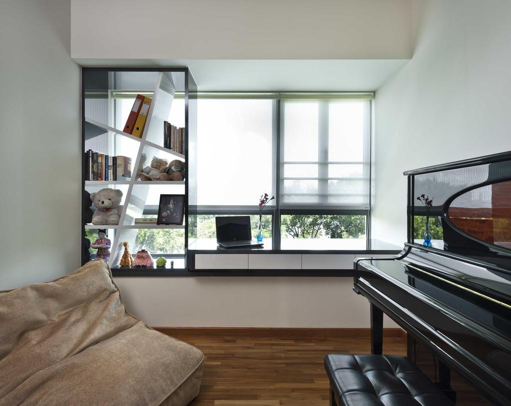 Modern, Condo, Bedroom, Water Front Waves, Interior Designer, Space Factor, Piano, Beanbag, Parquet, Blinds, Window Seat, Display Unit, Bookshelf, Bookcase