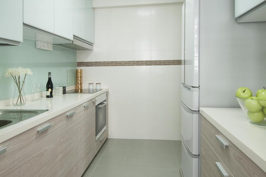 Punggol Field (Block 268A), Icon Interior Design, Modern, Kitchen, HDB, Tile, Tiles, Glass Wall, Cabinet, Wood, Wood Laminate, Laminate, Drawers, Storage, Apple, Flora, Food, Fruit, Plant, Produce