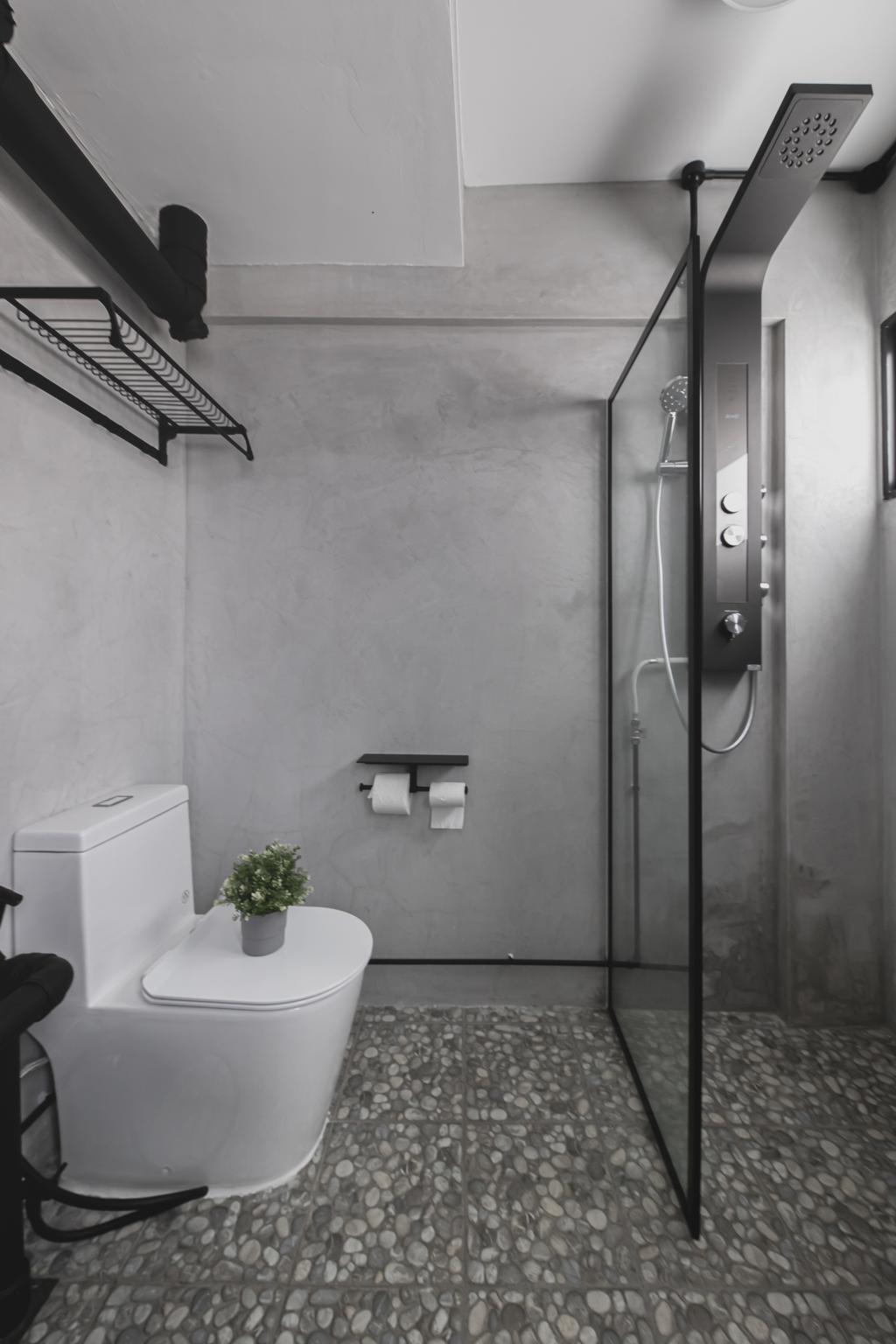 Industrial, HDB, Bathroom, Tampines, Interior Designer, Space Atelier