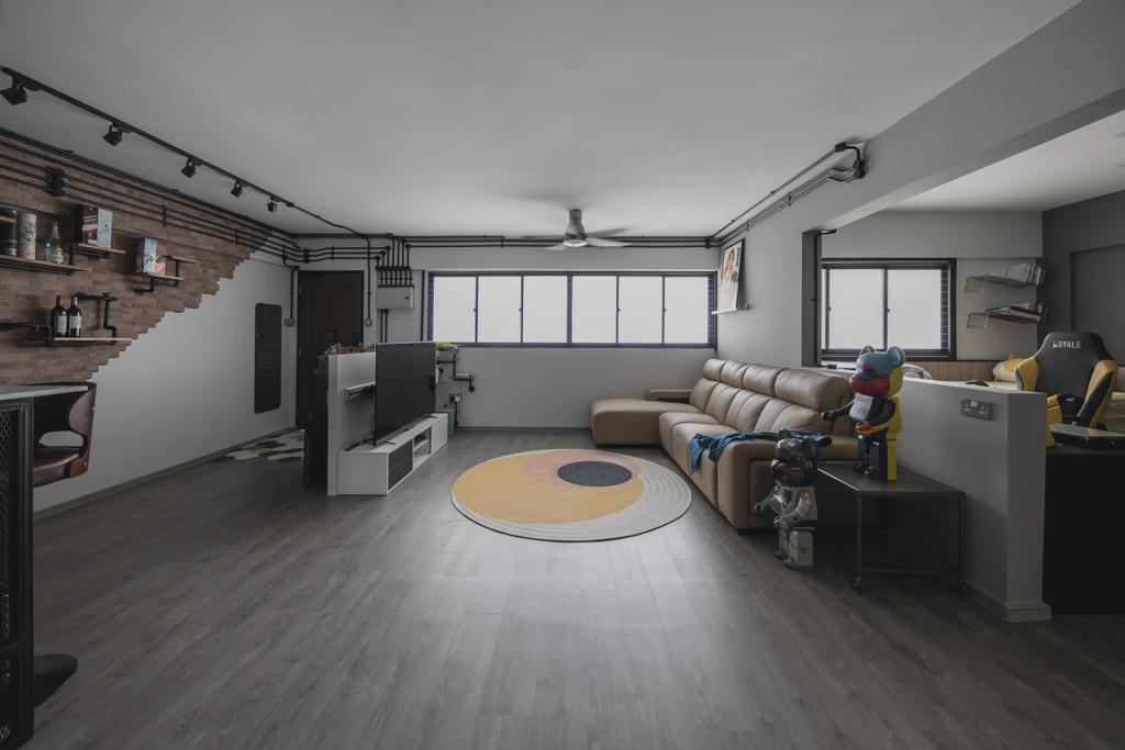 Industrial, HDB, Living Room, Tampines, Interior Designer, Space Atelier