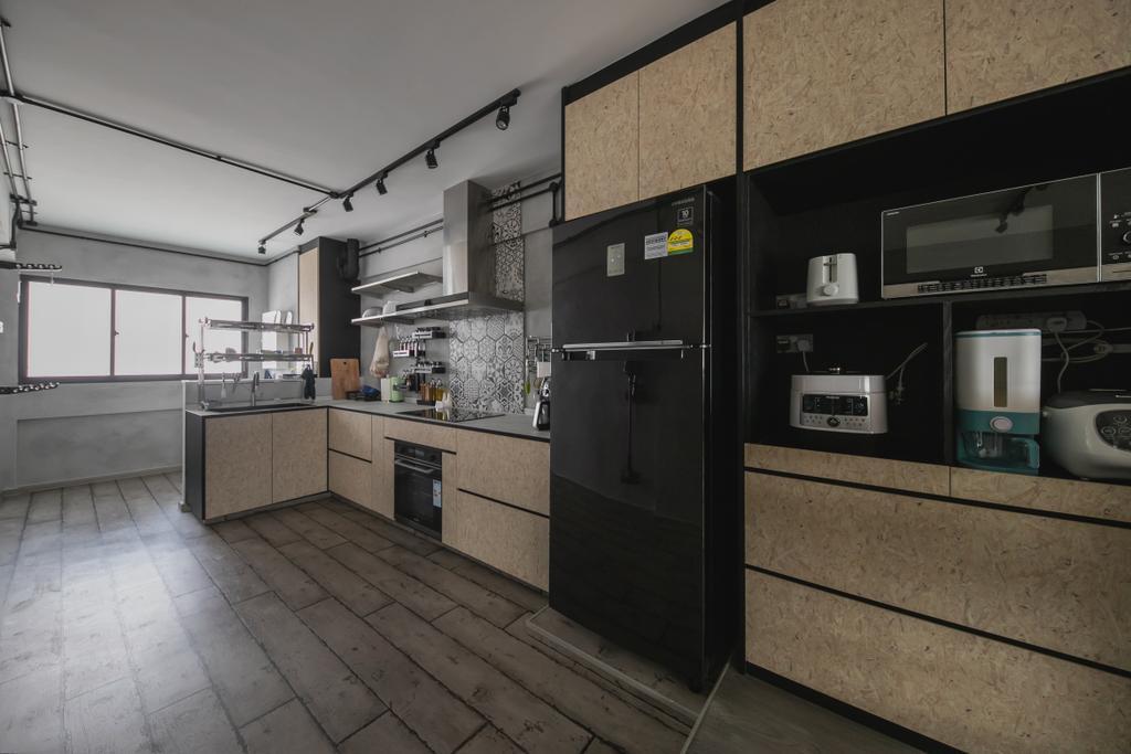 Industrial, HDB, Kitchen, Tampines, Interior Designer, Space Atelier