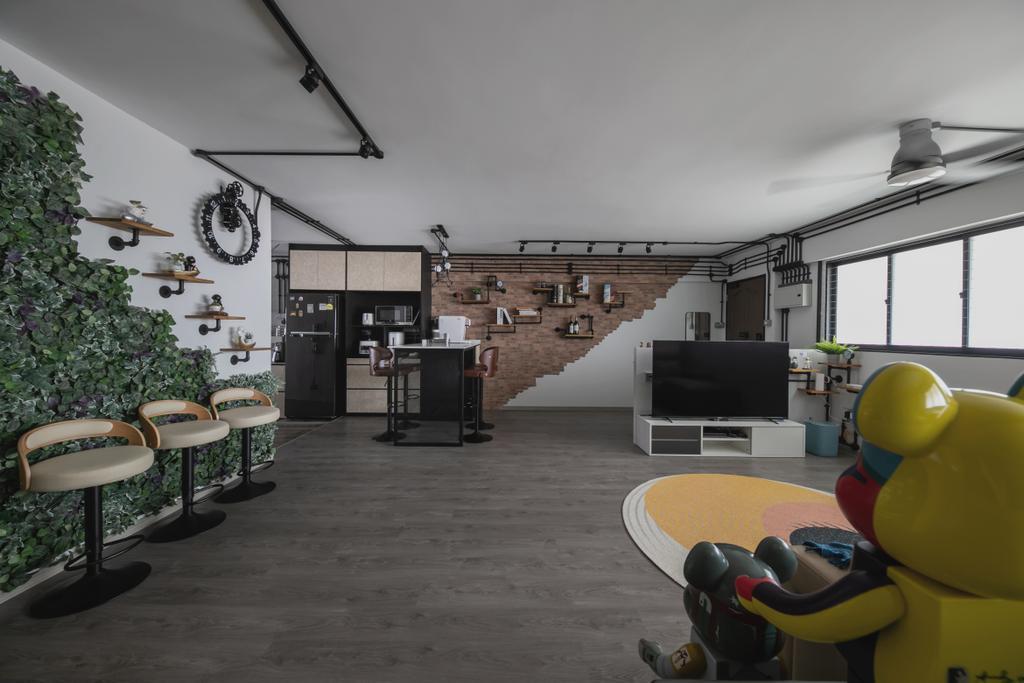 Industrial, HDB, Living Room, Tampines, Interior Designer, Space Atelier