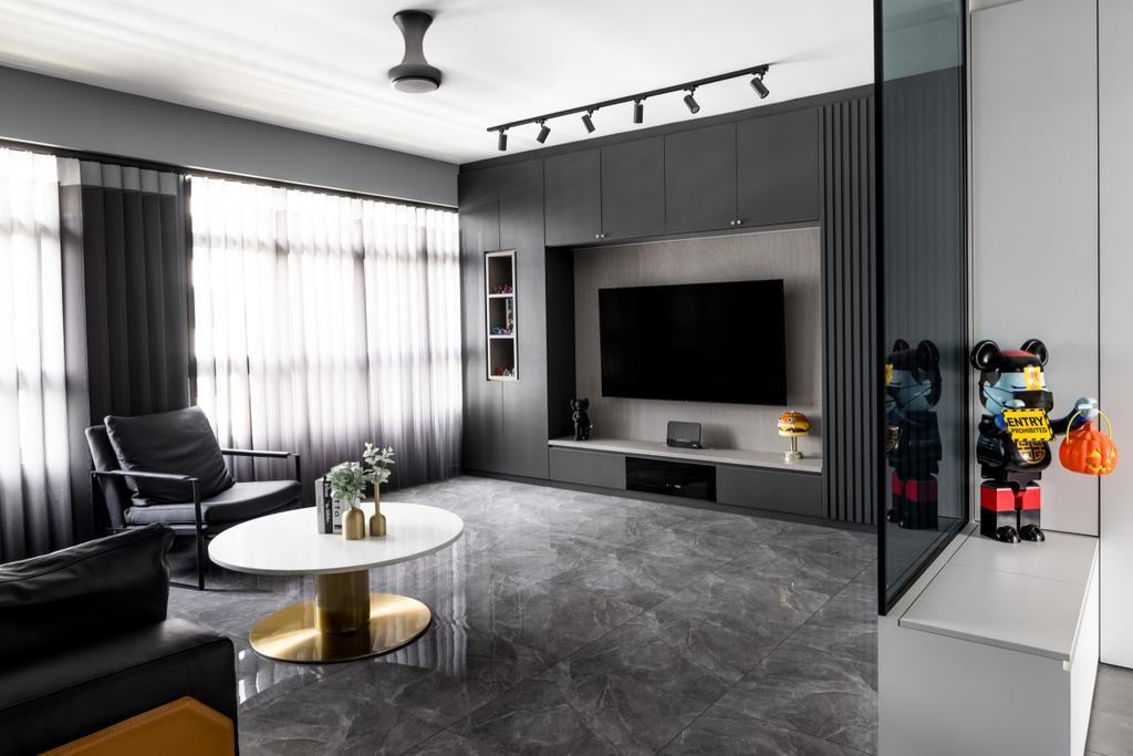 Contemporary, HDB, Living Room, Tampines North Drive 1, Interior Designer, Jialux Interior, Monochrome, Black And White