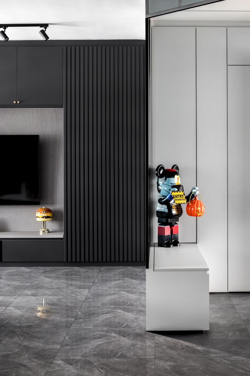 Contemporary, HDB, Living Room, Tampines North Drive 1, Interior Designer, Jialux Interior, Entrance, Shoe Seat, Shoe Cabinet