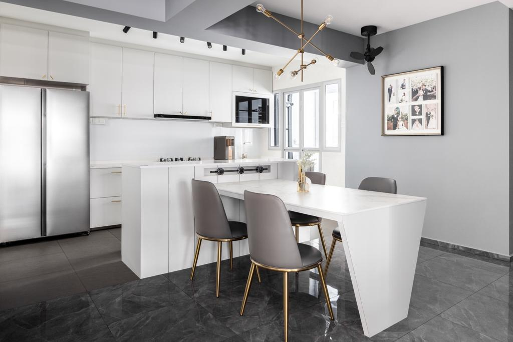 Contemporary, HDB, Dining Room, Tampines North Drive 1, Interior Designer, Jialux Interior, Kitchen Island