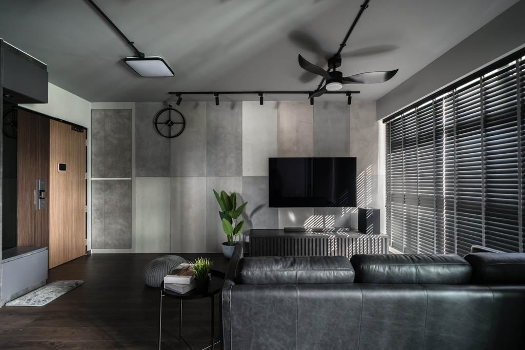 Contemporary, HDB, Living Room, Canberra Street, Interior Designer, Key Concept, Feature Wall, Black, Monochrome