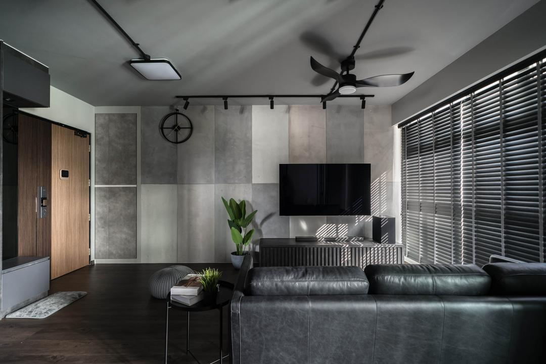 Canberra Street, Key Concept, Contemporary, Living Room, HDB, Feature Wall, Black, Monochrome