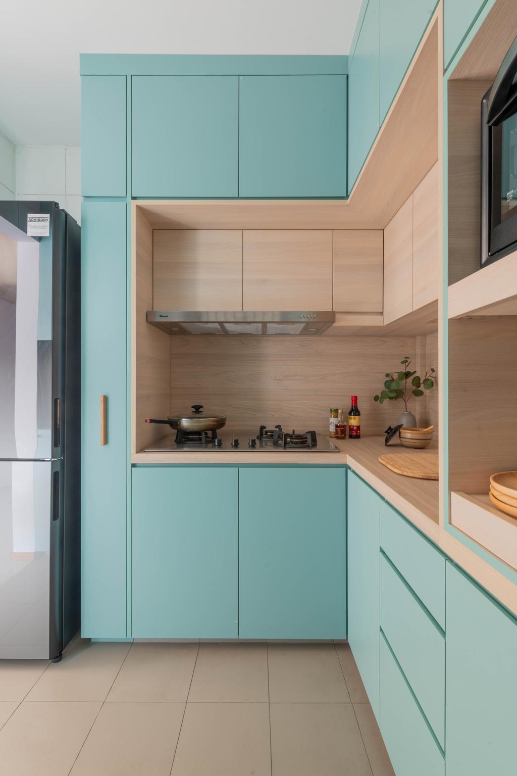Minimalistic, HDB, Kitchen, Cantonment Road, Interior Designer, Urban Home Design 二本設計家, Blue, Pastel, Green