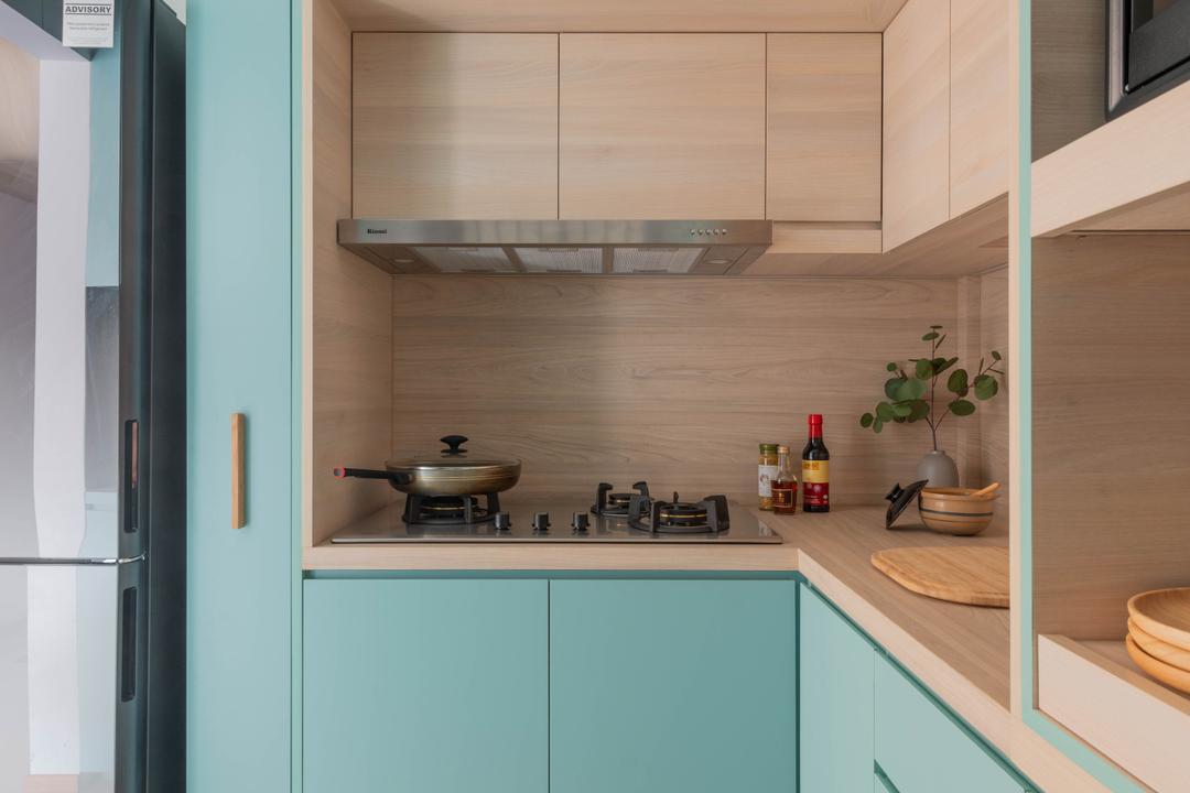Cantonment Road, Urban Home Design 二本設計家, Minimalistic, Kitchen, HDB, Blue, Pastel, Green