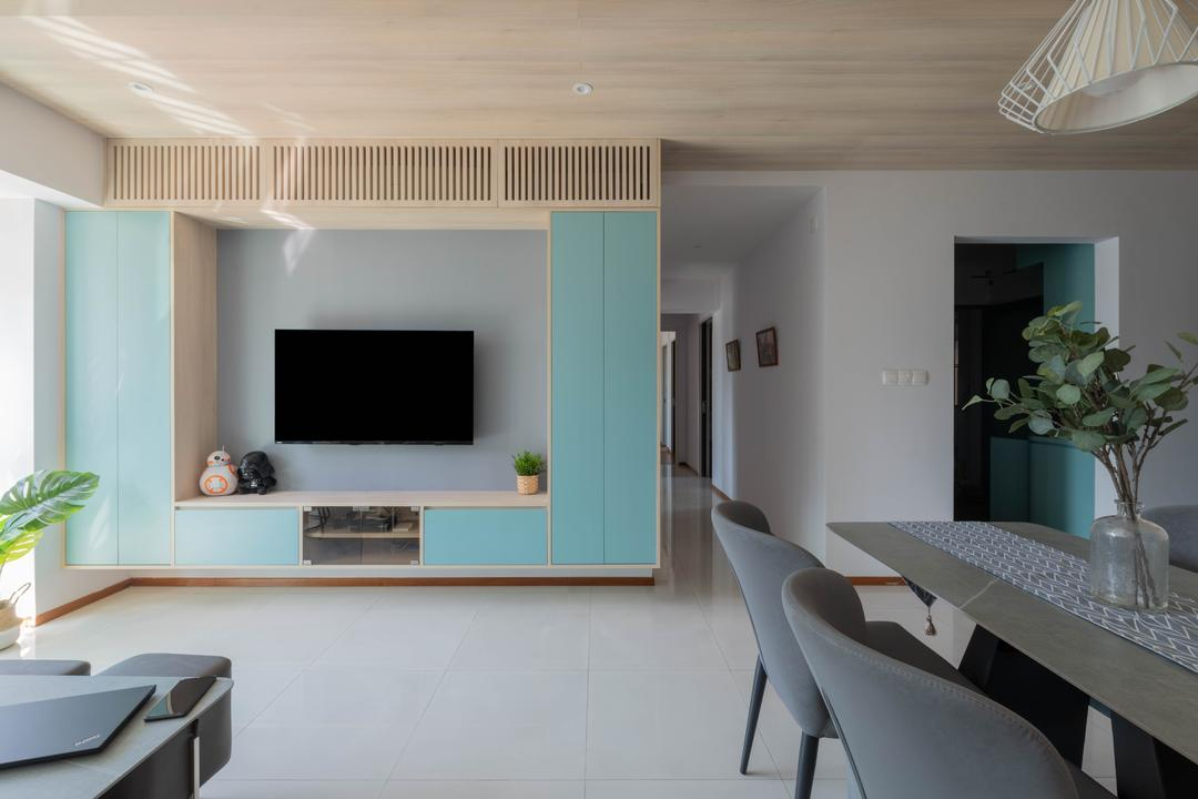 Cantonment Road, Urban Home Design 二本設計家, Minimalistic, Living Room, HDB, Pastel, Feature Wall