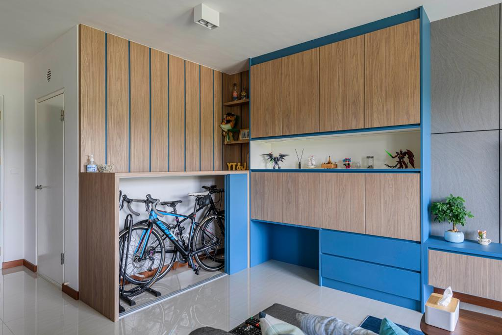 Eclectic, HDB, Living Room, Canberra Street, Interior Designer, Project Guru, Bicycle, Storage