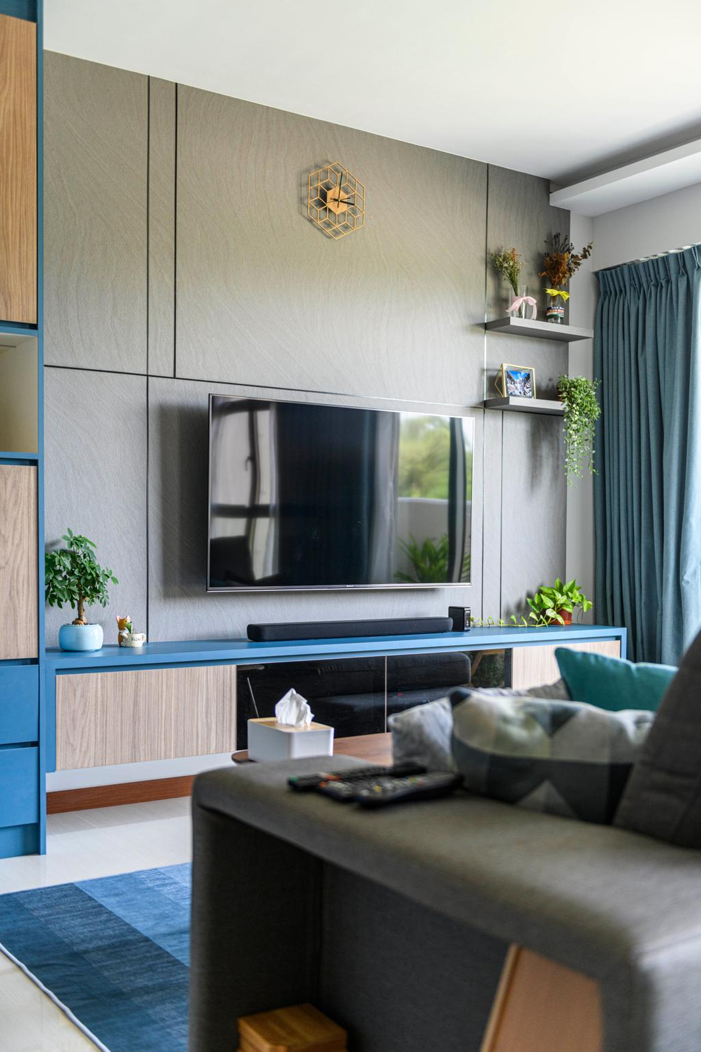 Eclectic, HDB, Living Room, Canberra Street, Interior Designer, Project Guru