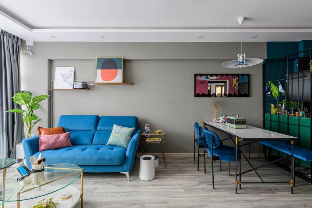Eclectic, HDB, Living Room, Geylang Serai, Interior Designer, Project Guru, Modern
