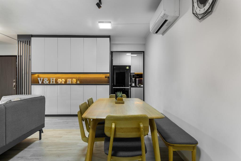 Contemporary, HDB, Dining Room, Hougang Street 91, Interior Designer, Livspace, Scandinavian