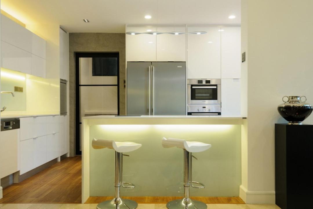 Regent Heights, Icon Interior Design, Modern, Kitchen, Condo, Barstools, Bar Counter, Parquet, Pedastal, Display Pedastal, Concealed Lighting, Chair, Table, Cabinet, Storage
