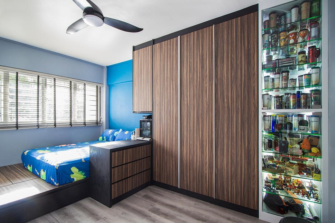 Jurong East, Noble Interior Design, Modern, Bedroom, HDB, Collectibles, Display, Storage