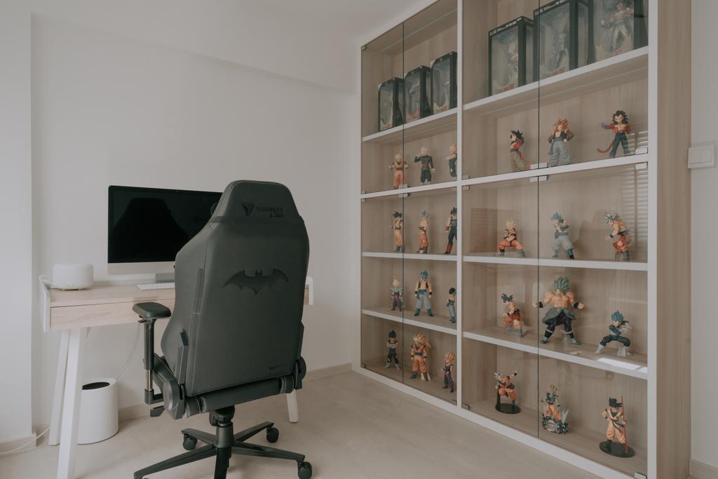 Minimalist, HDB, Study, Serangoon Central, Interior Designer, Key Concept, Collectibles, Display, Figurines, Storage