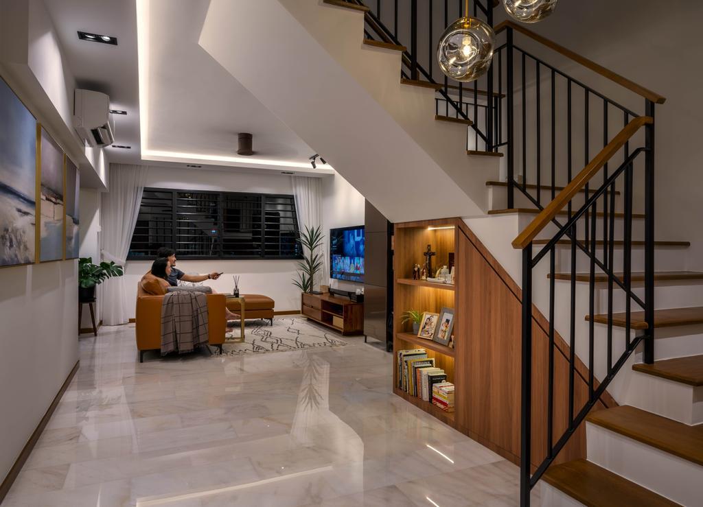 Contemporary, HDB, Living Room, Toh Yi Drive, Interior Designer, Zenith Arc, Maisonette