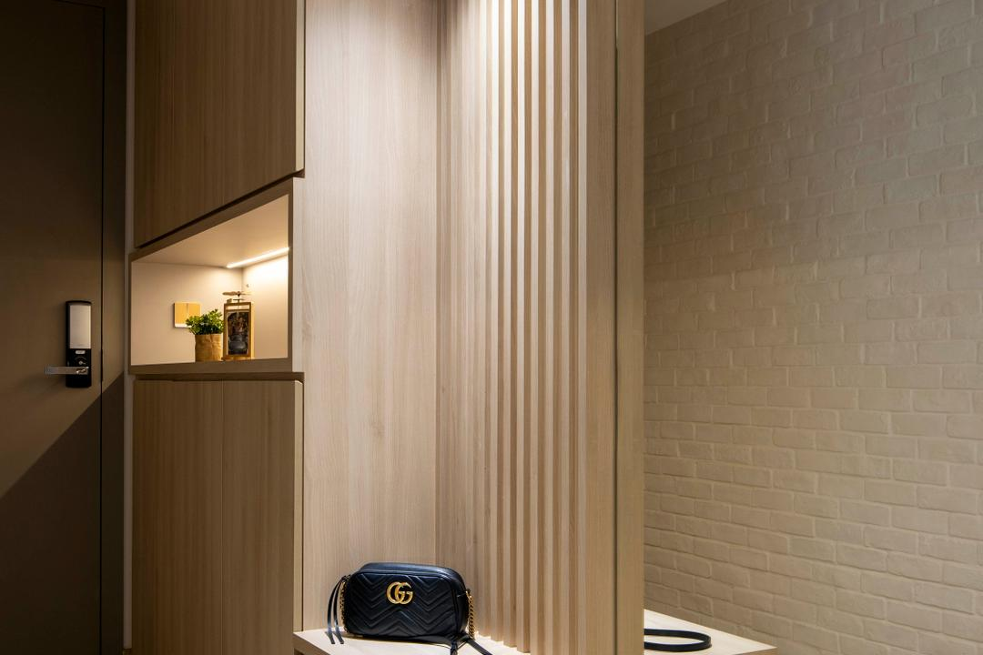 Northwave, Fifth Avenue Interior, Scandinavian, Contemporary, Living Room, Condo, Shoe Cabinet, Shoe Settee, Shoe Seat, Entrance, Foyer
