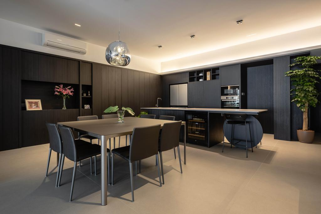 Contemporary, Condo, Dining Room, Trevose Park, Interior Designer, Habit, Kitchen Island