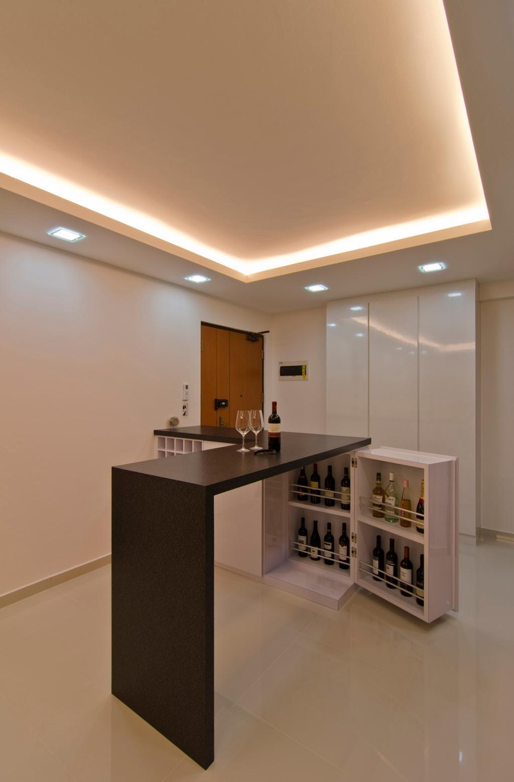 Contemporary, HDB, Living Room, Havelock Road, Interior Designer, Ideal Design Interior, Wine Cooler, Mirror, Bar Counter, Concealed Lighting, False Ceiling, Cabinet, Storage, White, Cubbyholes