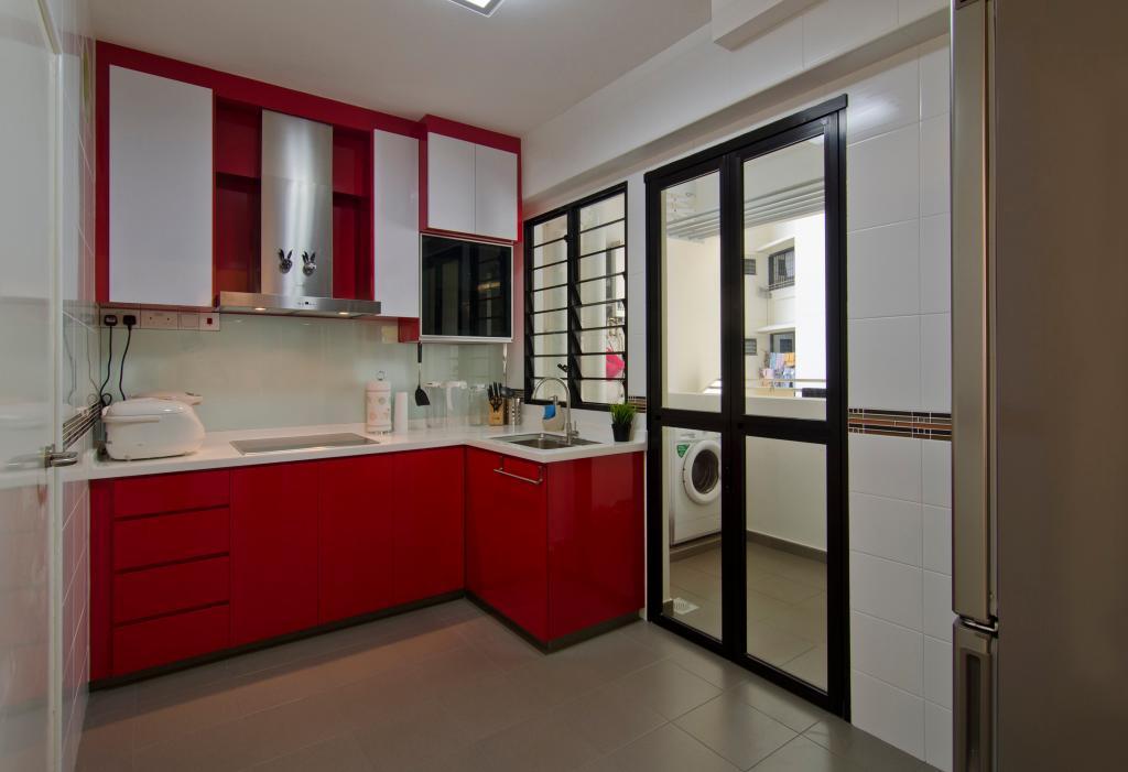 Contemporary, HDB, Kitchen, Havelock Road, Interior Designer, Ideal Design Interior, Red, White, Monochrome, Exhuast Hood, Kitchen Counter, Laundry Room, Kitchen Room