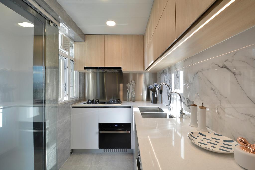 當代, 私家樓, 廚房, 滙景花園, 室內設計師, Space Design, 北歐