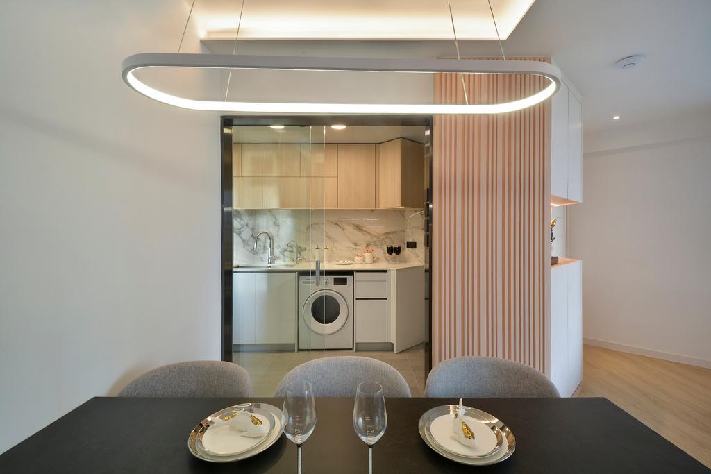 當代, 私家樓, 飯廳, 滙景花園, 室內設計師, Space Design, 北歐