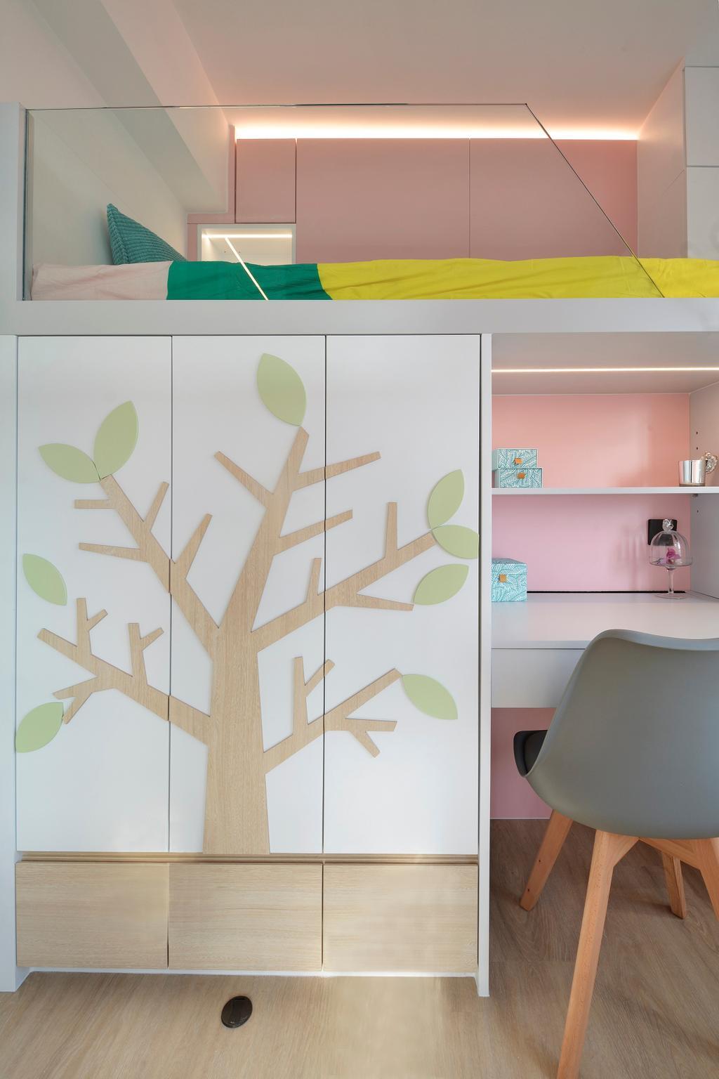 當代, 私家樓, 睡房, 滙景花園, 室內設計師, Space Design, 北歐