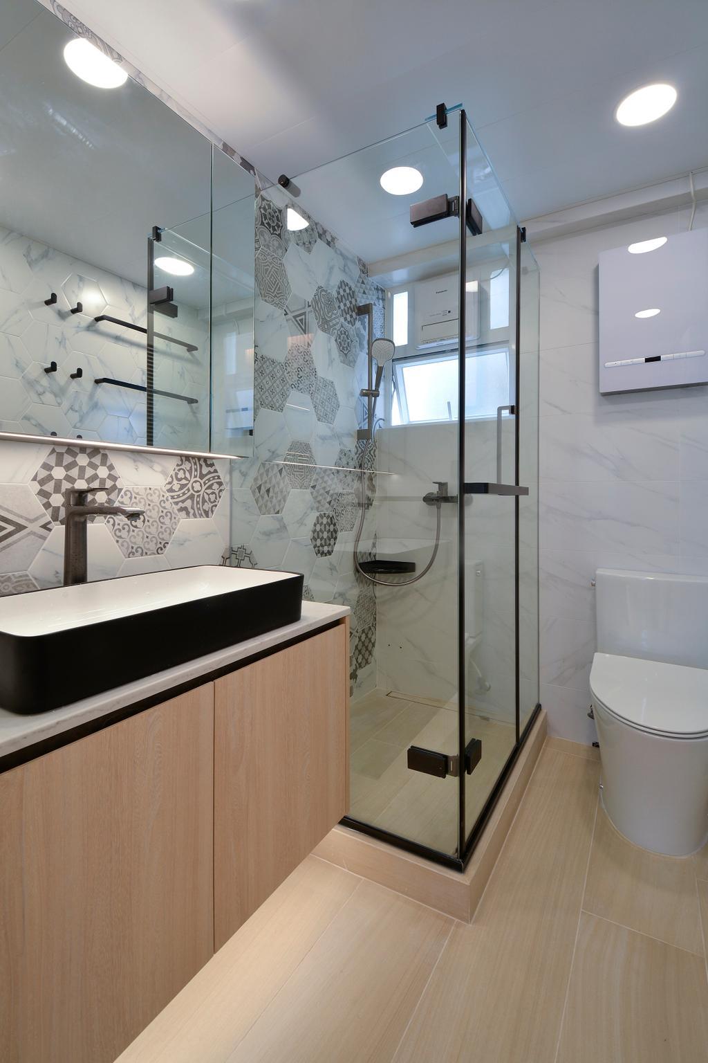 當代, 私家樓, 浴室, 滙景花園, 室內設計師, Space Design, 北歐
