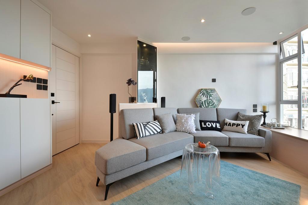 當代, 私家樓, 客廳, 滙景花園, 室內設計師, Space Design, 北歐
