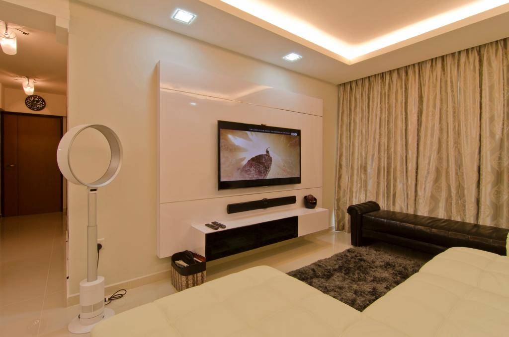 Contemporary, HDB, Living Room, Havelock Road, Interior Designer, Ideal Design Interior, Curtains, Concealed Lighting, False Ceiling, Fan, Rug, Chaise Lounge, Chair, Tv Console, Feature Wall, Bin