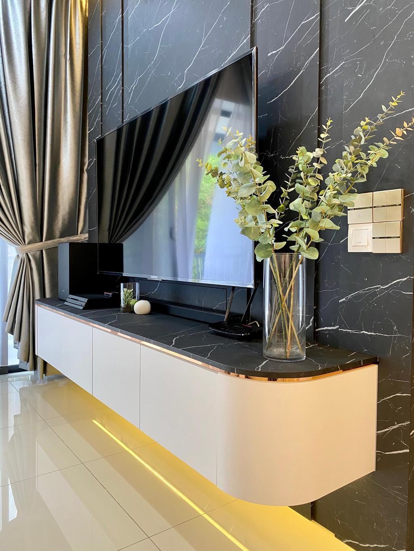 Modern, Condo, Living Room, Setia Sky Vista Condo, Penang, Interior Designer, Catappa Design Studio, Contemporary
