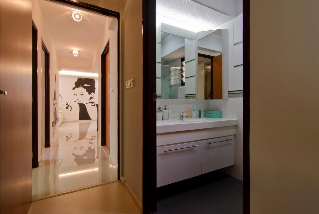 Contemporary, HDB, Bathroom, Havelock Road, Interior Designer, Ideal Design Interior, Wall Art, Wall Sticker, Mirror, Concealed Lighting, Bathroom Counter
