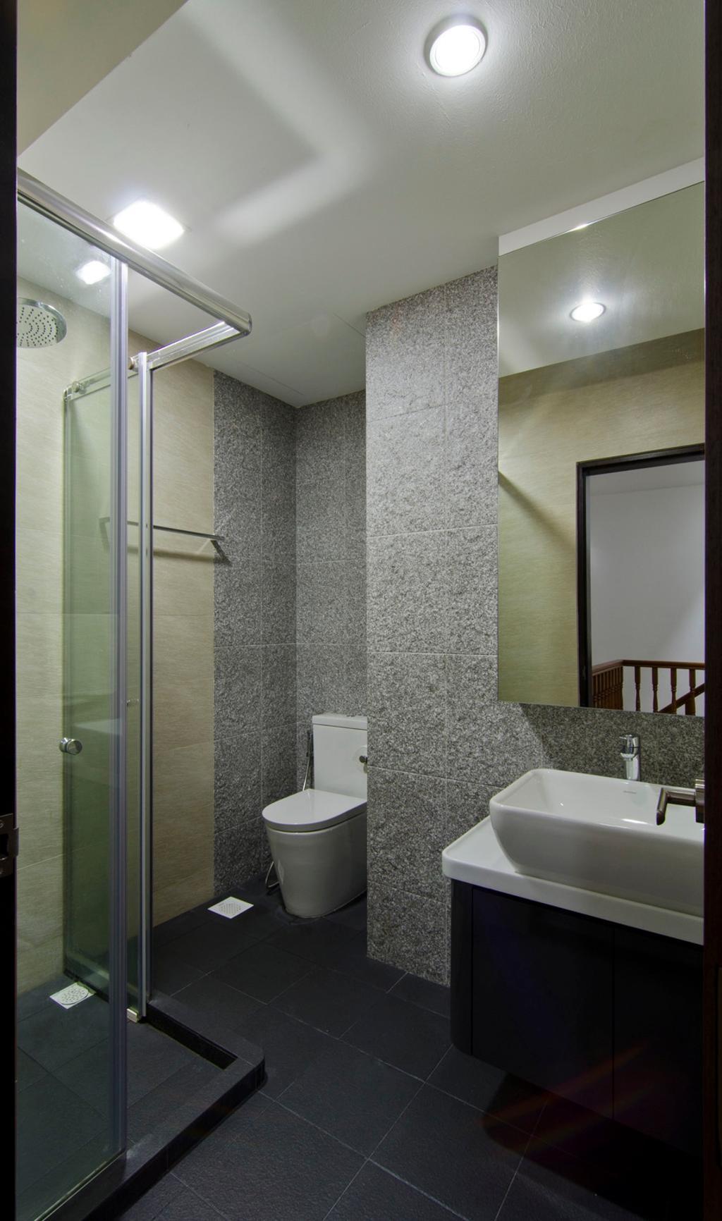 Modern, Landed, Bathroom, Jln Simpang Bedok, Interior Designer, Ideal Design Interior, Stone Wall, Tile, Tiles, Glass Cubicle, Mirror, Vessel Sink, Bathroom Counter, Raw