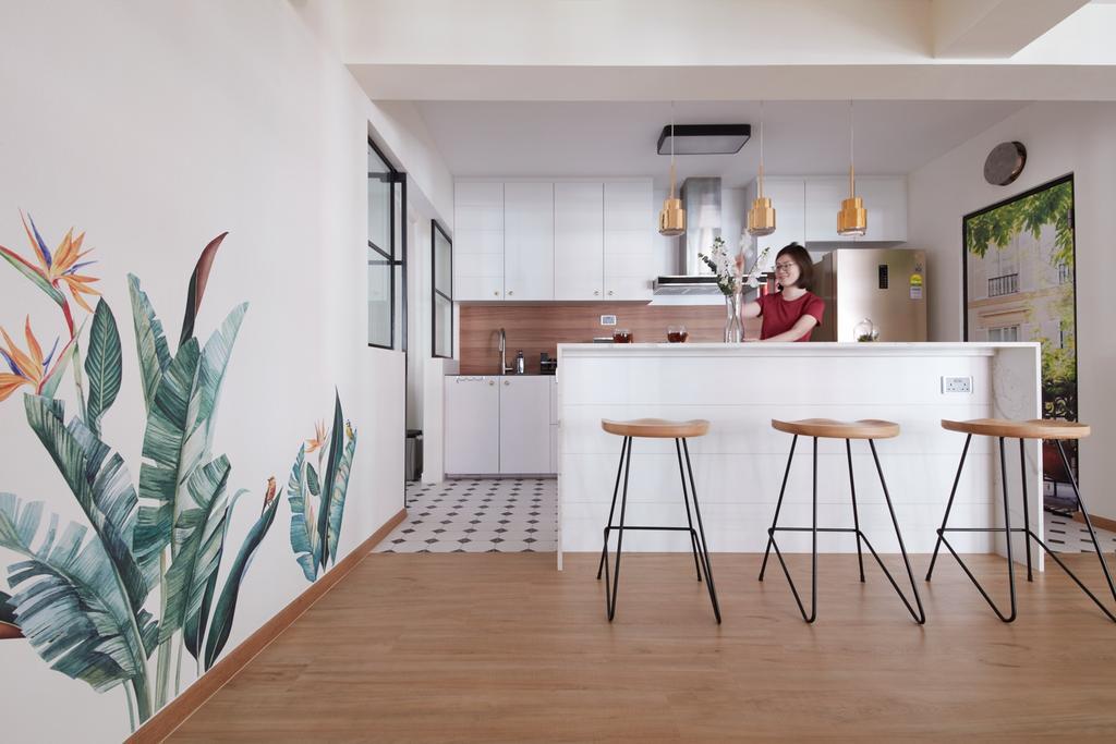 Scandinavian, HDB, Kitchen, Bukit Batok West, Interior Designer, Free Space Intent, Kitchen Island, Open Kitchen, Open Concept, Open Layout