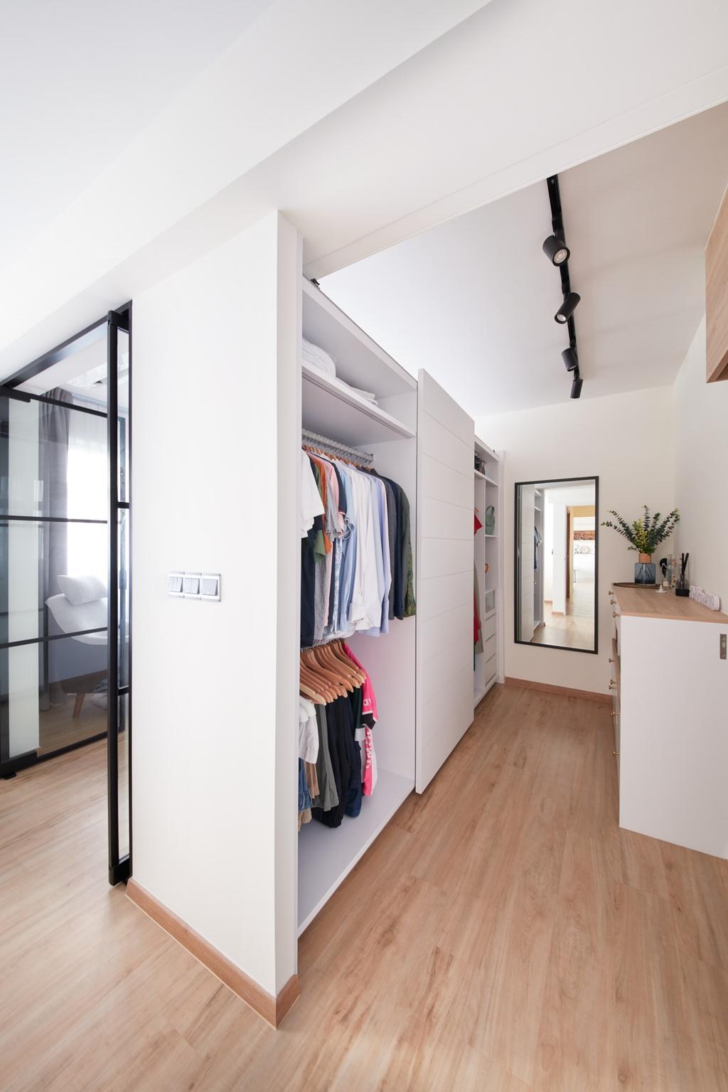 Scandinavian, HDB, Bedroom, Bukit Batok West, Interior Designer, Free Space Intent, Walk In Wardrobe, Wardrobe